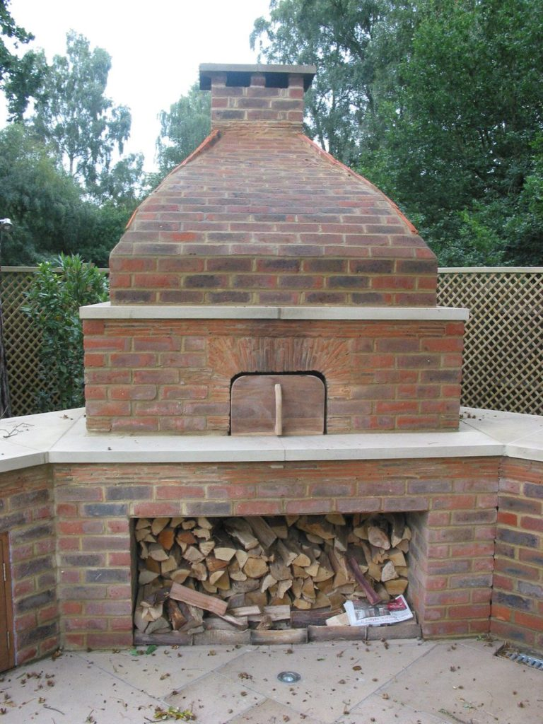 Brick oven front view