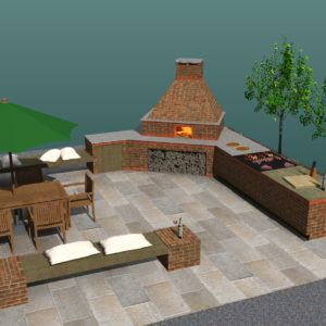 bespoke brick oven, wood-fired oven, pizza oven, wood burning oven, outdoor kitchen, project cgi,