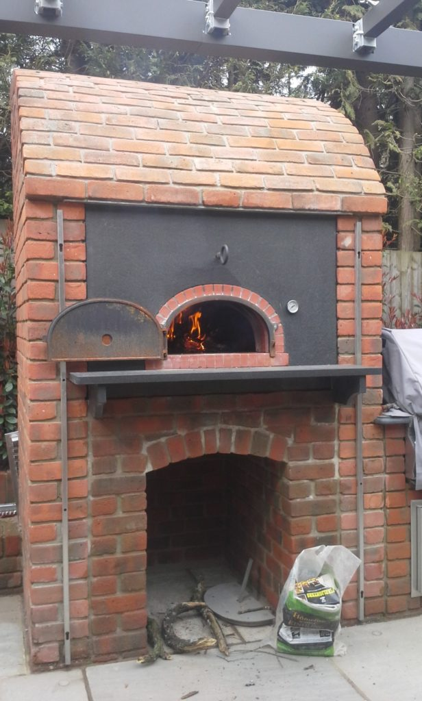 F800 brick oven set in enclosure
