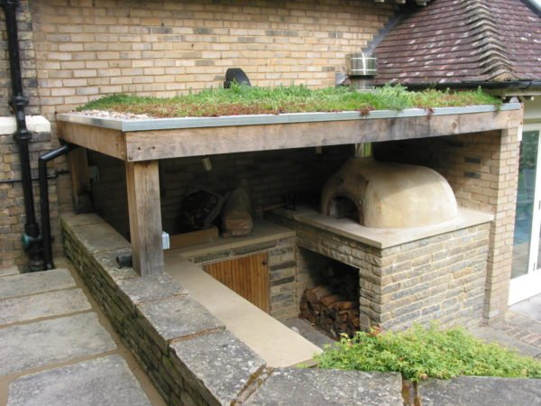 Oven and prep area under green roof, green roof and oven, Beckenham