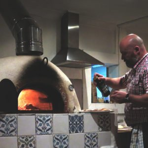 Prepping pizza, old fire station cafe, warminster, four grand-mere wood-fired oven