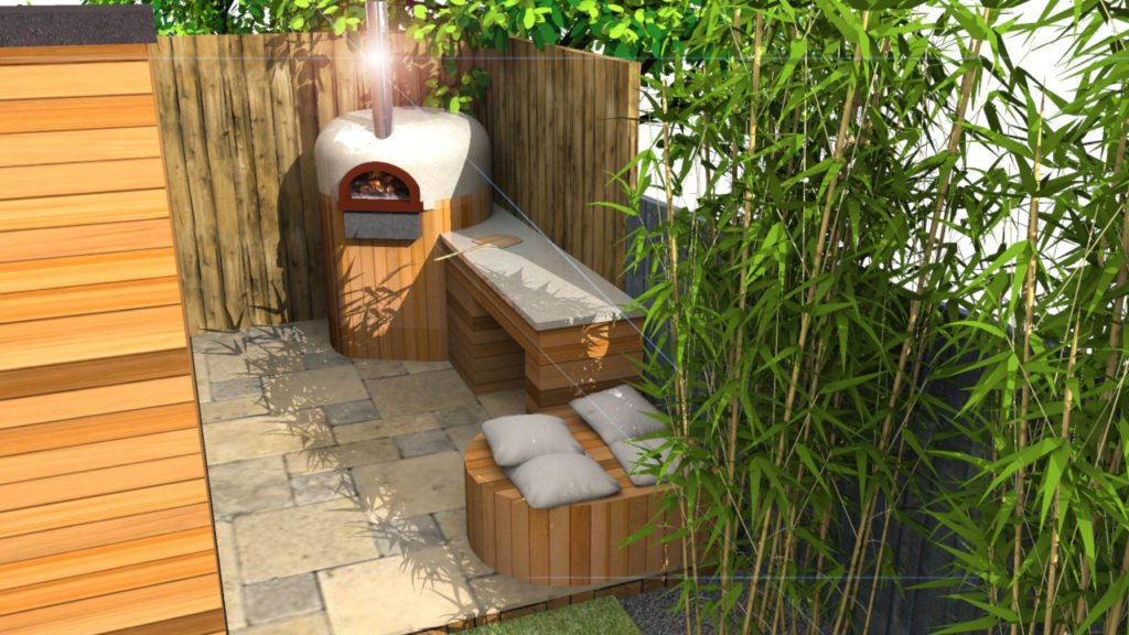 Concept plan cgi,outdoor kitchen East Sheen, outdoor cooking, pizza oven, wood-fired oven