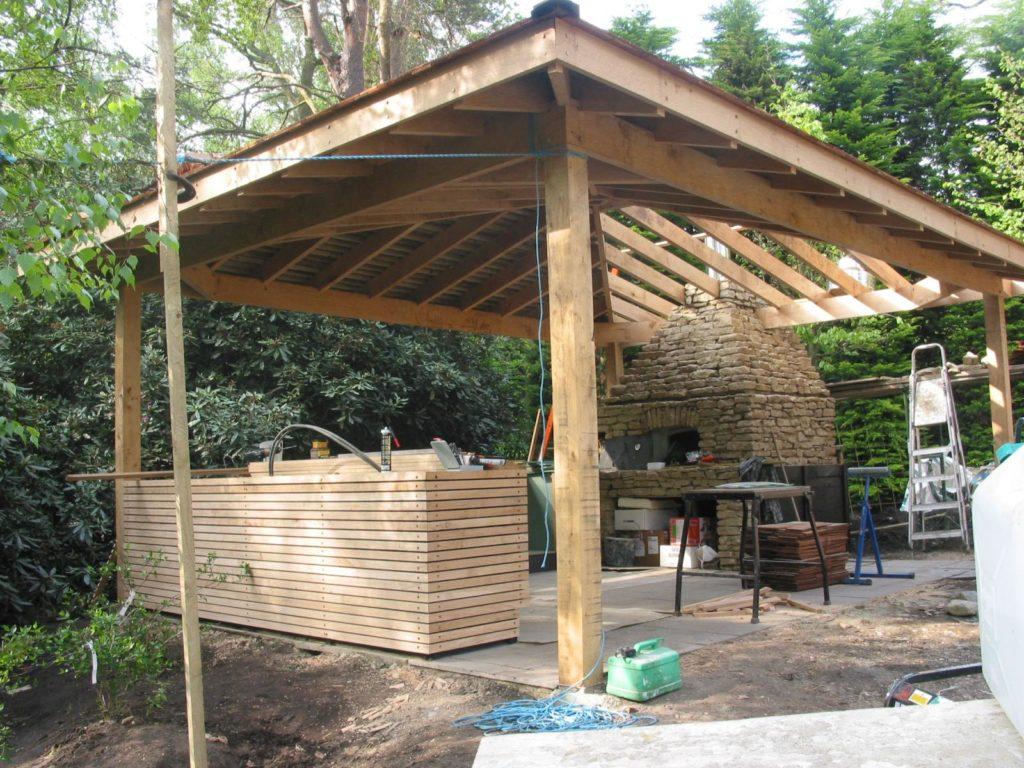 st georges hill, weybridge, outdoor kitchen, oak cladding, oak frame, cedar shingles,
