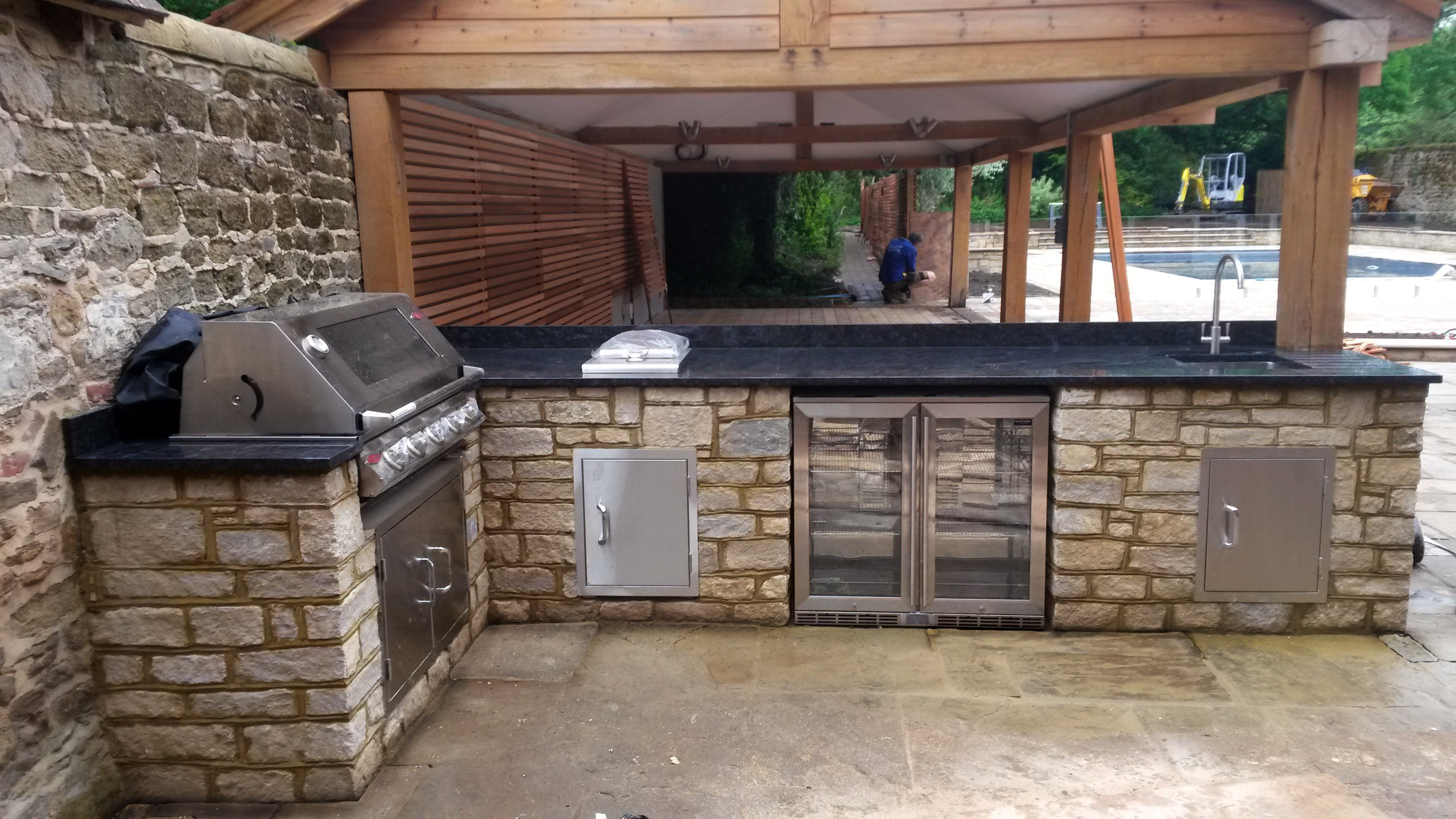 Purbeck stone cladding, outdoor kitchen Lynchmere, outdoor cooking