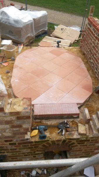 Laying bakers tile hearth