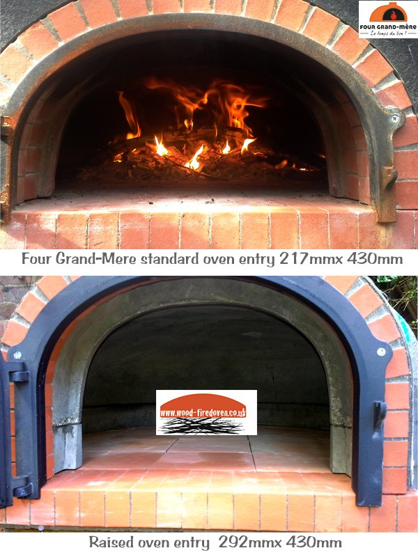 four grand-mere, door sizes, standard or raised, wood-fired oven, pizza oven, outdoor oven, wood burning oven,