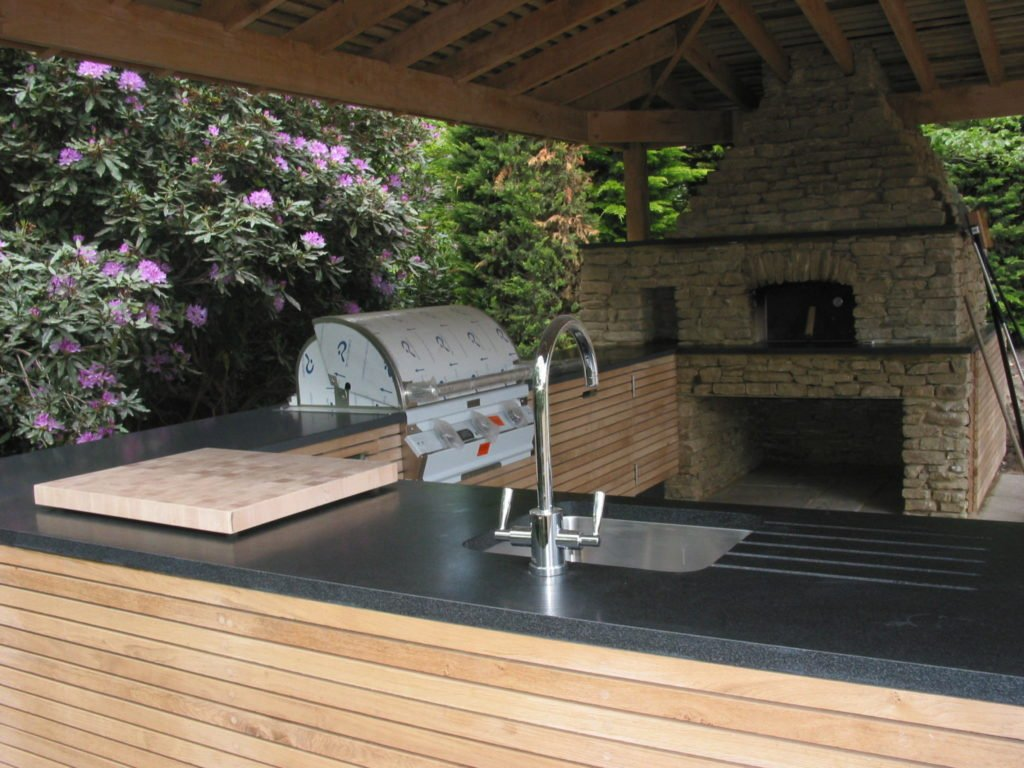 outdoor kitchen design, roof, oak framing, Surrey