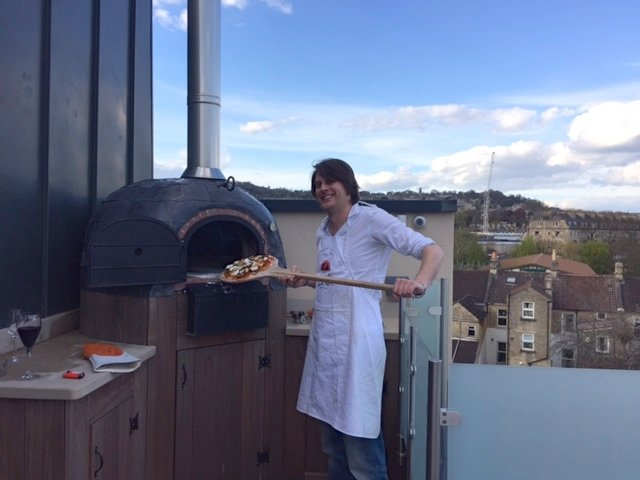 outdoor kitchen, pizza oven, Four Grand-Mere, roof garden,Bath