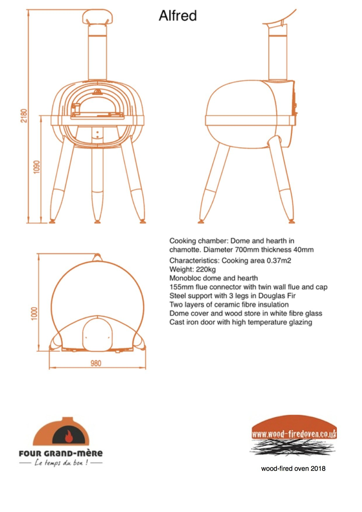 ALFRED, wood-fired oven, pizza oven, pizza oven kit,