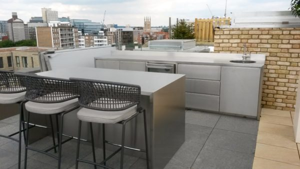 outdoor kitchen, stainless steel kitchen, outdoor bar, rooftop dining