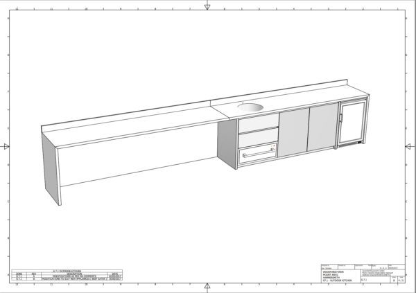 stainless steel outdoor kitchens, CAD shop drawing,