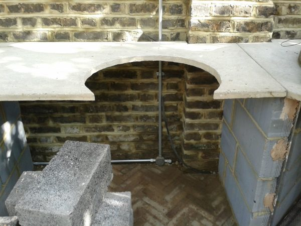 garden cooking, garden cooking station, Nunhead, London, cast concrete worktop