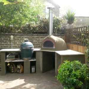 garden cooking station, Nunhead, Four grand Mere 700A+, Le Flamme, Big Green Egg, outdoor kitchen, outdoor kitchen UK, garden pizza oven,