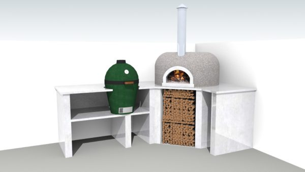 garden cooking, garden cooking station, SE15 ,London, cgi, Le Flamme, Four Grand-Mere 700A+, pizza oven, wood-fired oven,