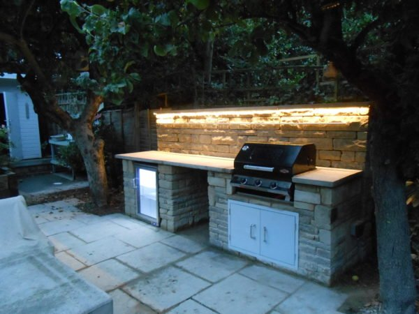 outdoor kitchen, rustic kitchen, Wimbledon, BBQ, outdoor fridge, LED lighting