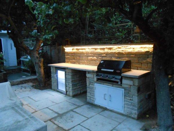 rustic kitchen, Wimbledon, BBQ, outdoor fridge, LED lighting